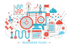 Modern Flat thin Line design Business project plan concept for web banner website, presentation, flyer and poster. Modern Flat thin Line design Business project Royalty Free Stock Images