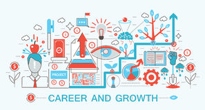 Modern Flat thin Line design Career and growing concept vector illustration