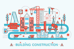 Modern Flat thin Line design Construction and architect building concept  Stock Photography