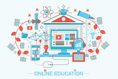 Modern Flat thin Line design distance online education and e-learning concept Royalty Free Stock Image