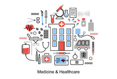 Modern flat thin line design  illustration, concept of medicine and healthcare. First aid, medical equipment and medicament cure, for graphic and web design Stock Images