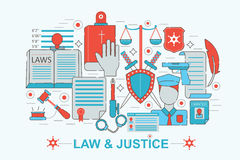 Modern Flat thin Line design Law and justice concept Stock Photography