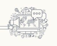 Modern flat thin line design for social media illustration Stock Image