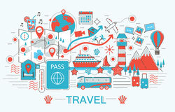 Modern Flat thin Line design Travel toutism concept Royalty Free Stock Images
