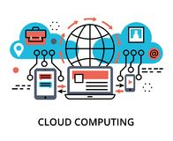 Concept of  cloud computing technologies. Modern flat thin line design vector illustration, concept of  cloud computing technologies and protect cloud networks Royalty Free Stock Image