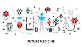 Concept of future medicine. Modern flat thin line design vector illustration, concept of future medicine, for graphic and web design Royalty Free Stock Photography