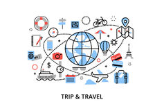 Modern flat thin line design vector illustration, concept of travelling around the world, journey and trip to other countries. For graphic and web design Stock Photo