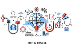 Modern flat thin line design vector illustration, concept of travelling around the world, journey and trip to other countries Royalty Free Stock Image