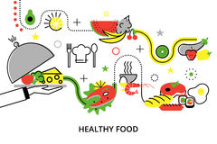 Modern flat thin line design vector illustration. Concepts of healthy homemade food and restaurant meals, for graphic and web design Royalty Free Stock Images