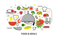 Modern flat thin line design vector illustration, concepts of homemade food and restaurant meals. For graphic and web design Royalty Free Stock Images