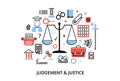 Modern flat thin line design vector illustration, concepts of judgment process, protection of human rights and ordinances of justi. Ce, for graphic and web Royalty Free Stock Image