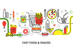 Modern flat thin line design vector illustration. Concepts of unhealthy fast food and snacks, for graphic and web design Stock Photo