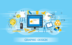 Modern flat thin line design vector illustration, infographic concept of graphic design, designer items and tools, and design deve Stock Image