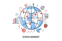 Modern flat thin line design vector illustration, infographic concept with icons of stock market process and securities trading. For graphic and web design Royalty Free Stock Image