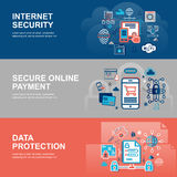 Modern flat thin line design vector illustration. Infographic concept of internet security, network protection and secure online payments for graphic and web Stock Image