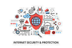 Modern flat thin line design vector illustration, infographic concept of internet security, network protection and secure online p. Ayments, for graphic and web Royalty Free Stock Images