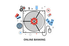 Modern flat thin line design vector illustration, infographic concept of online banking, internet money operations and payment tra. Nsations, for graphic and web Royalty Free Stock Images