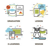 Modern flat thin line design vector illustration, set of education concepts, gradution, school lesson, e-learning process. And wisdom abstract, for graphic and Stock Image