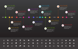 Modern flat timeline with rainbow milestones on da. Modern flat timeline with rainbow milestones and dark background Stock Images