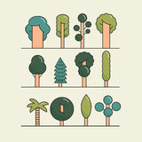 Modern flat trees set. Vector tree icons set, tree. Symbols for your works Royalty Free Stock Photo