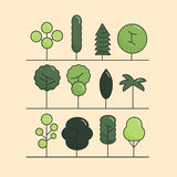 Modern flat trees set. Vector tree icons set, tree Stock Photography