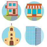 Modern flat vector buildings set. Colorful template for you desi Royalty Free Stock Image