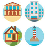 Modern flat vector buildings set. Colorful template for you desi Stock Image