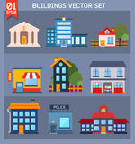 Modern  flat vector  buildings set. Royalty Free Stock Photos