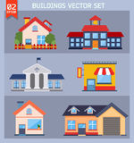 Modern  flat vector  buildings set. Stock Image