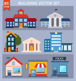 Modern  flat vector  buildings set. Royalty Free Stock Photography