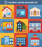 Modern  flat vector  buildings set. Stock Images
