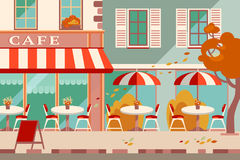 Modern flat vector horizontal illustration. Outdoor cafe in the Stock Photography