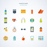 Modern flat vector icons of healthy lifestyle Royalty Free Stock Image