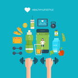 Modern flat vector icons of healthy lifestyle Royalty Free Stock Images