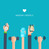 Modern flat vector icons of healthy lifestyle Stock Photos