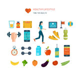 Modern flat vector icons of healthy lifestyle Royalty Free Stock Photos