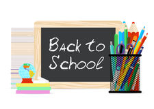Modern flat vector illustration, board with chalk back to school Stock Photo