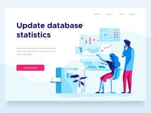 Modern flat vector illustration concept of people interacting with graphs. Creative landing page design template. Modern flat vector illustration concept of stock illustration