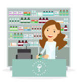 Modern flat vector illustration of a female pharmacist showing medicine description at the counter in a pharmacy Royalty Free Stock Photos