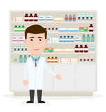 Modern flat vector illustration of a male pharmacist showing med royalty free illustration
