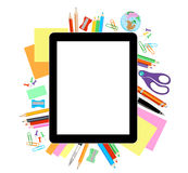 Modern flat vector illustration, tablet PC with school office su Royalty Free Stock Image