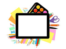Modern flat vector illustration, tablet PC with school office supplies Royalty Free Stock Image