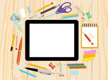 Modern flat vector illustration, tablet PC with school office supplies Stock Photography