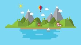 Modern flat vector landscape illustration . with house boat and hills . holiday coast scenery background Royalty Free Stock Images