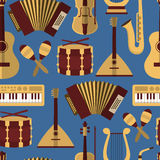 Modern flat  vector seamless pattern with music instruments Stock Photography