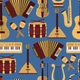 Modern flat  vector seamless pattern with music instruments. Guitar synthesizer saxophone lira balalaika drum garmon maracas violin Stock Photography