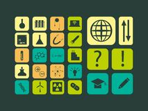 Modern flat vector set of scientific icons. For web and mobile Stock Images
