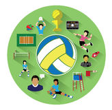 Modern flat volleyball icons set with long shadow effect Stock Photography