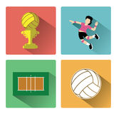 Modern flat volleyball icons set with long shadow effect Royalty Free Stock Photo