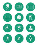 Modern flat volleyball icons set with long shadow effect Stock Photo